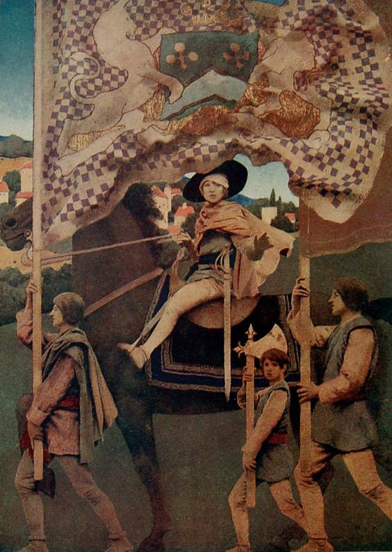 Dies Irae by Maxfield Parrish, print 1914. Tipped in plate from King Albert's Book. Beautiful image of a young rider on horseback with flags and escort. Published in 1914 as a tribute to Belgium and h: