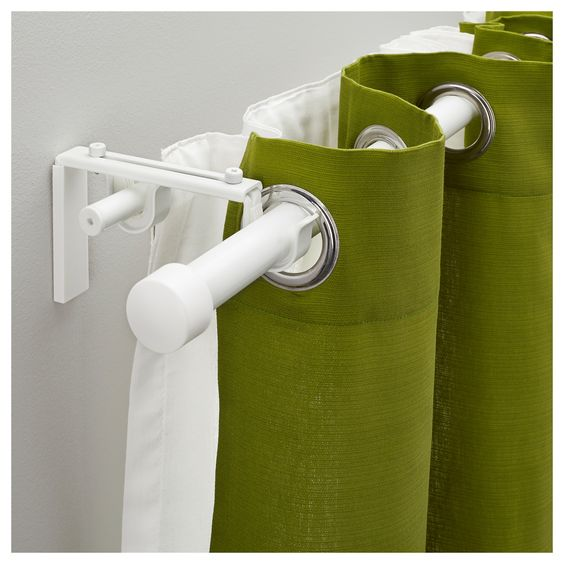 RÄCKA / HUGAD Double curtain rod combination, white | Curtain rods ...