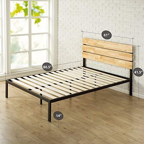 Zinus Sonoma Metal Wood Platform Bed With Wood Slat Support Queen With Images Metal Platform Bed Wood Platform Bed Platform Bed Frame