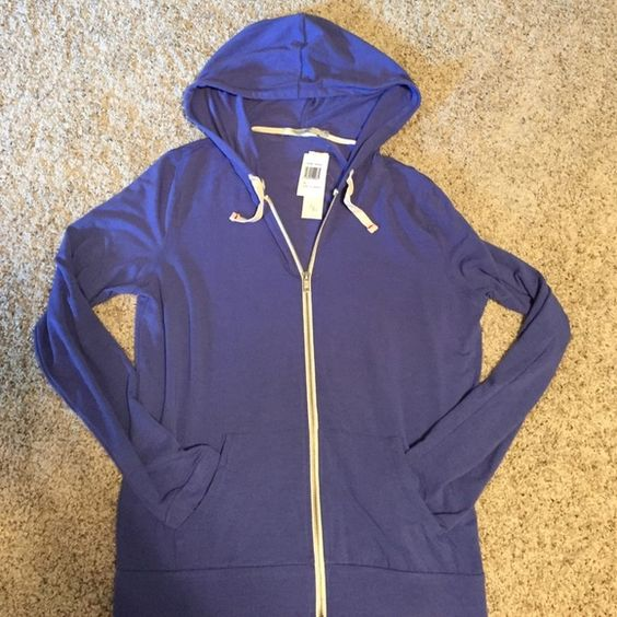 XL Abbot Main Venice beach zip hoodie New with tags size XL zip up hoodie from Abbot Main Venice Beach. Feels very soft, it's 47% poly, 47% rayon, and 6% spandex. Great color, like a periwinkle blue. Smoke free home. Abbot Main Tops Sweatshirts & Hoodies