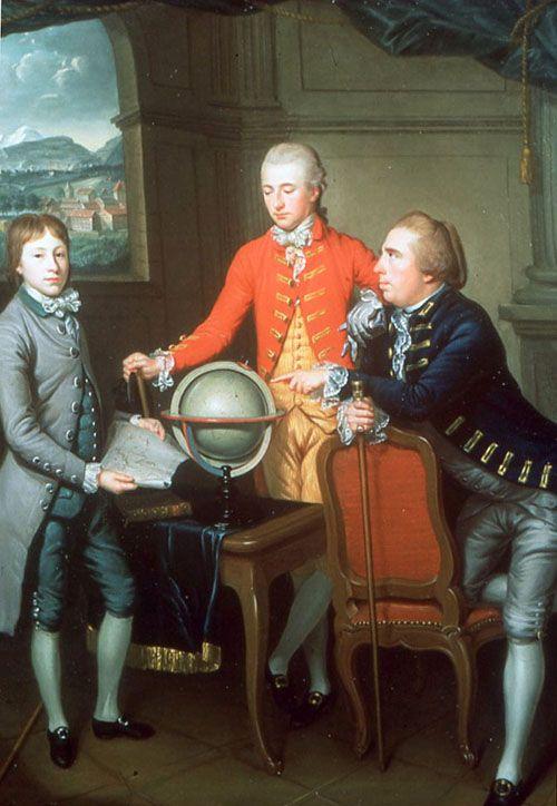 Douglas, 8th Duke of Hamilton, auf seiner Grand Tour mit seinem Arzt Dr. John Moore und dessen Sohn John. Im Hintergrund ist die Stadt Genf zu sehen. Gemalt von Jean Preudhomme, 1774.