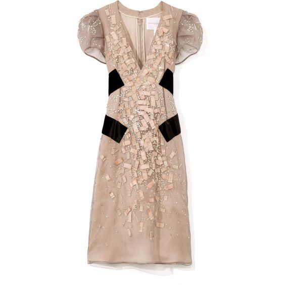 Carolina Herrera nude and black Silk Georgette Dress ($7,990) ❤ liked on Polyvore