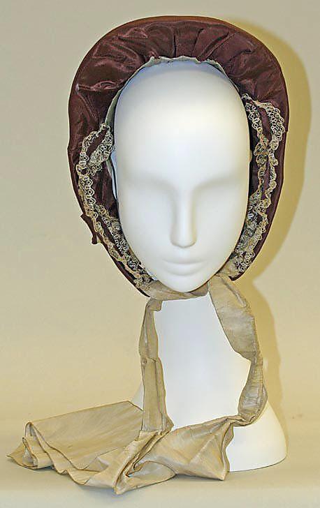 "1855-65 ... Bonnet ... silk ... Height: 12"" ... American ... at The Metropolitan Museum of Art ... photo 2"