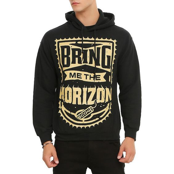 Bring Me The Horizon Dynamite Pullover Hoodie Hot Topic (€45) ❤ liked on Polyvore featuring tops, hoodies, hoodie pullover, hoodies pullover, black hoodie pullover, black hooded sweatshirt and hooded pullover