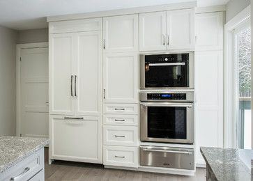"The total length of this cabinetry is 9 feet. The counter-depth fridge on the left is 36"" wide so you could fit in the wall ovens with a pantry on each side in 6 feet of space. Pantry wall contemporary-kitchen via Houzz"