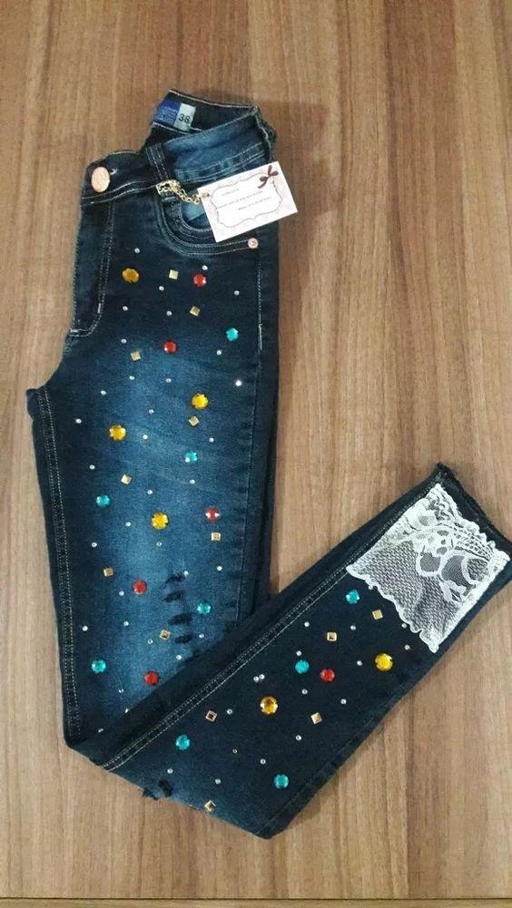 Decora Tus Jeans Ropa Pantalones Reciclados Coser Pantalones De Mezclilla