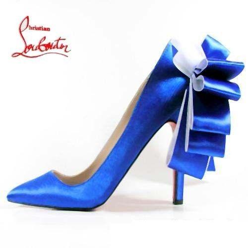 Chaussure Louboutin Pas Cher Escarpin Bleu en Satin Anémone #redbottomshoes
