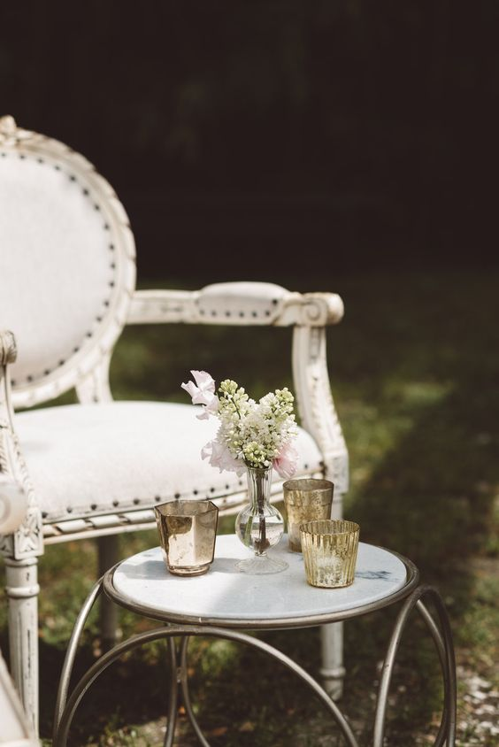 Snyder's Louis Chair with Gold Orbit Side Table | Vintage Southern Wedding at Magnolia Plantation Carriage House by Charleston Wedding Planner ELM Events