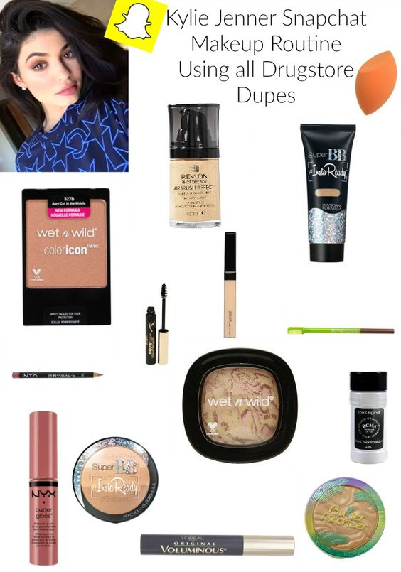Kylie Jenner Snapchat Makeup Routine | Using All Drugstore Dupes of the High End Makeup that King Kylie used... also using affordable makeup brushes