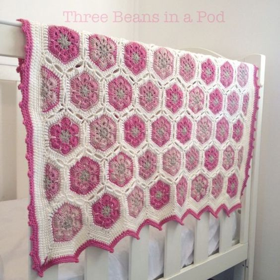 Handmade Crochet African Flower Cot Blanket Free Pattern - Crochet Craft, Bab...
