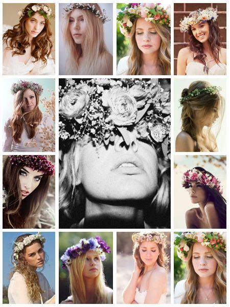 Peinados para novia con corona de flores