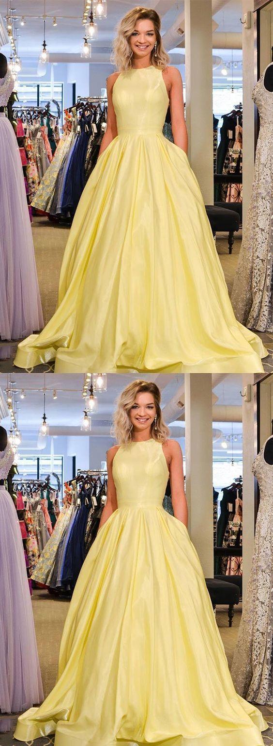 Cute Prom Dress Yellow Satin Long Prom Dress Yellow Evening Dress Cr 2817 Prom Dresses Yellow Prom Dresses Long Modest Cute Prom Dresses [ 1537 x 564 Pixel ]