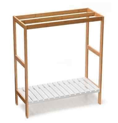 Bamboo Towel Rail Rack Bathroom Accessory Timber With Shelf For