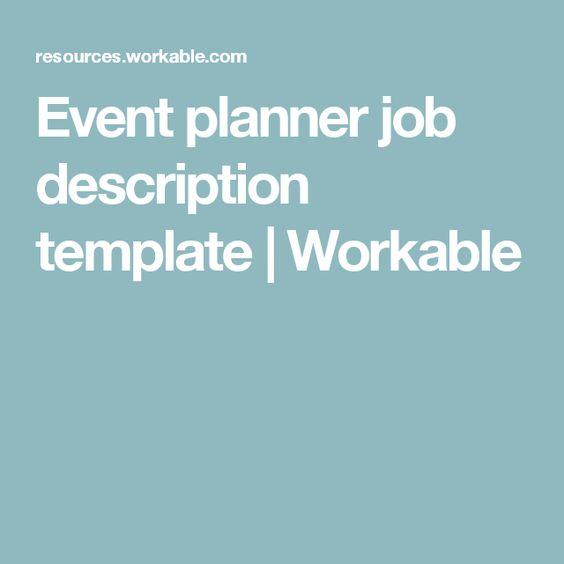 Sample Job Descriptions  Events Planner    Event