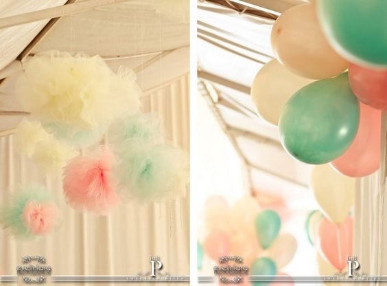 Aerostatic balloons windmills barriletes birthday party for Balloon cloud decoration