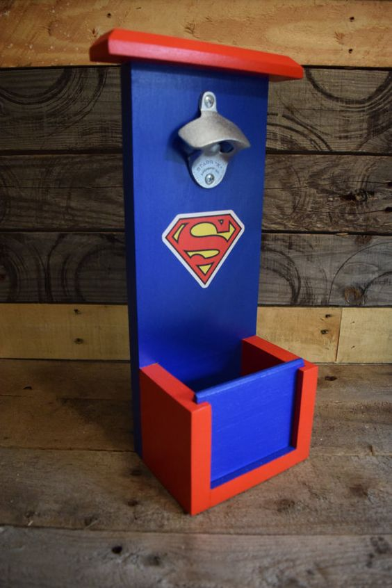 Superman bottle opener with cap catch by CSawWoodCrafters on Etsy