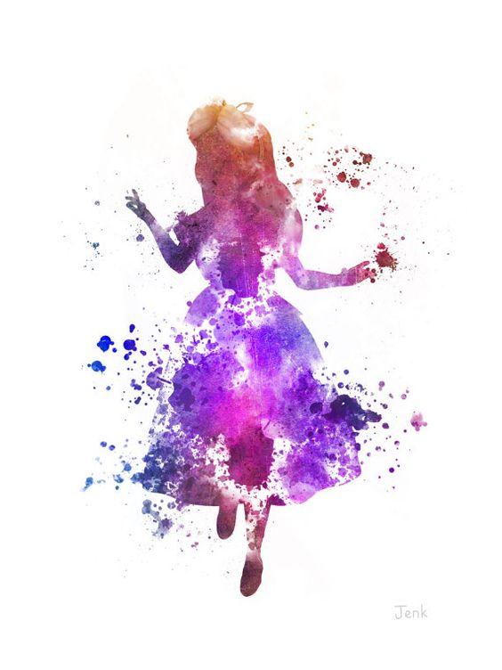 "Alice im Wunderland ART PRINT 10 x 8"" Illustration, Disney, Fantasy, Mischtechnik, Home Decor, Kindergarten, Kind"