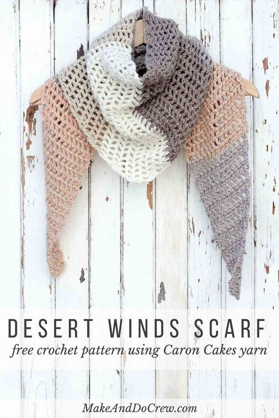 Free Crochet Patterns Using Caron Yarn : Free Caron Cakes Crochet Pattern - Desert Winds Triangle Scarf