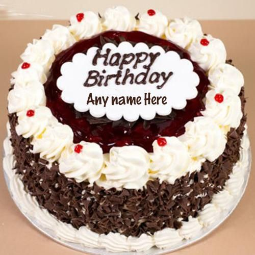 Black Forest Birthday Cake With Name Edit Happy Birthday Cakes Happy Birthday Cake Writing Happy Birthday Chocolate Cake