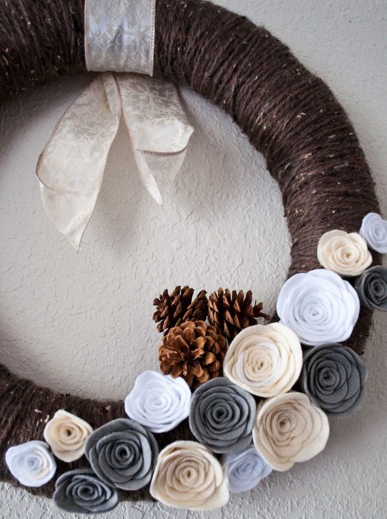 winter yarn wreath
