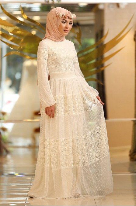 Minel Ask Ekru Tesettur Abiye 5296 Elbise The Dress Elbise Modelleri