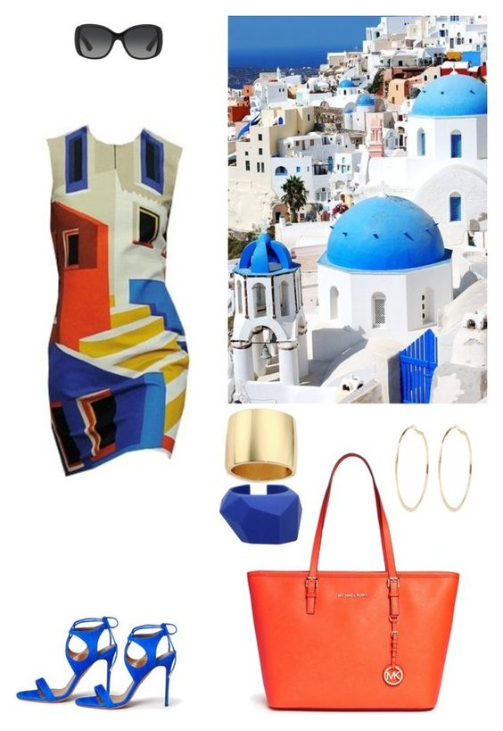 """August Vacations"" by dezaval ❤ liked on Polyvore featuring MICHAEL Michael Kors, Aquazzura, Prada, Marc by Marc Jacobs, Kenneth Jay Lane and River Island"