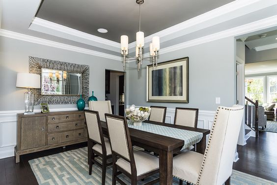 Bright Candice Olson Lighting convention Raleigh Transitional Dining Room Innovative Designs with blue and white rug clean crown moulding Dining formal dining light blue walls modern