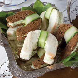 Benedictine Tea Sandwiches These horseshoe-shaped sandwiches wrapped with a cucumber are a fun variation on the everyday teatime staple.