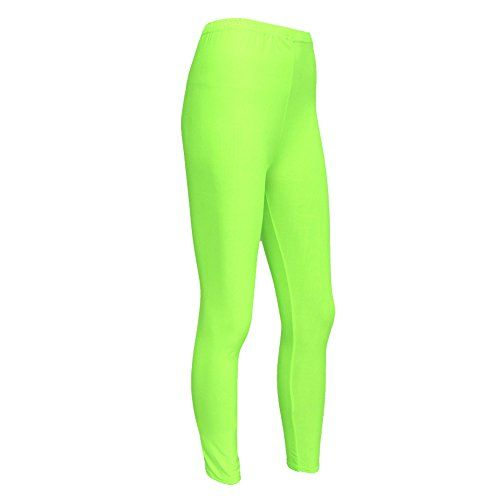 Girls Kids Neon Lycra Fluorescent Dance Casual Footless Leggings Age 7-12 Years