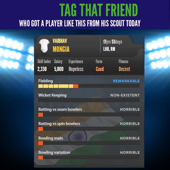 Tag that friend who got a player like this from his scout, today!  Have you recruited the player from the scout page today? Go ahead and recruit here: http://hitwicket.com/team/youth