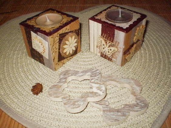 Scrap 39 sur support bougie bois morceaux de papiers peints for Papier peint sur bois