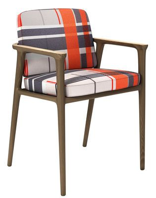 Zio Dining Padded armchair Black, White, Red - Structure : Cinnamon - Armrests : White wash by Moooi