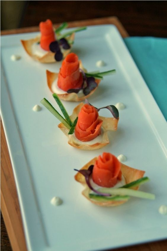 ... smoked salmon bricks friends crispy wonton cream salmon wontons tables