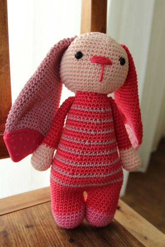 amigurumi rabbit with teether. Crochet handmade bunny toy. Handmade gift for babys/child