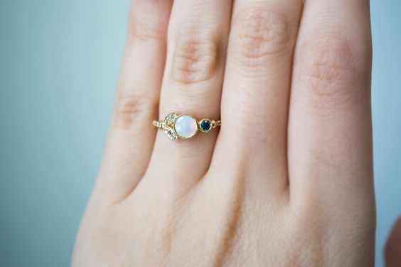 Lunette Opal and Sapphire Engagement Ring by S. Kind & Co.