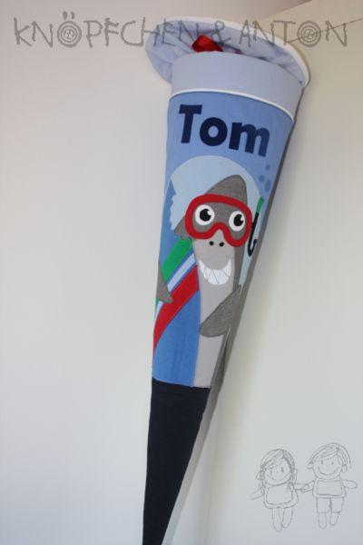 Schultüten - Schultüte Surfer Hai - TOM - ein Designerstück von knoepfchenundanton bei DaWanda