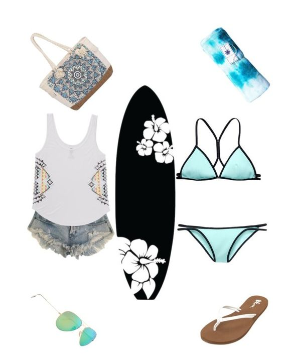 """""""Surf!"""" by kitkat-1414 ❤ liked on Polyvore featuring One Teaspoon, Volcom, Billabong, Dot & Bo, Victoria's Secret and Ray-Ban"""