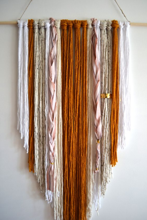 Hand knotted Woven Wall Hanging Yarn tapestry by xomrsmeasom