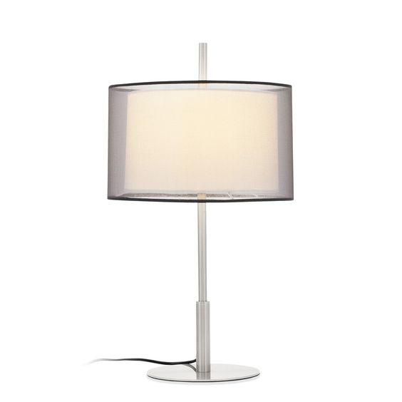 Lámpara de sobremesa Nonko. Incorpora dos pantallas textiles que generan una interesante distribución de la luz.