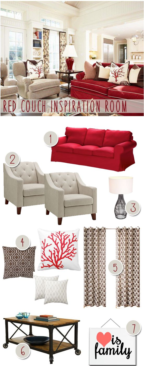 red couches  couch and modern farmhouse on pinterest Open Kitchen Living Room Combo red couches living room
