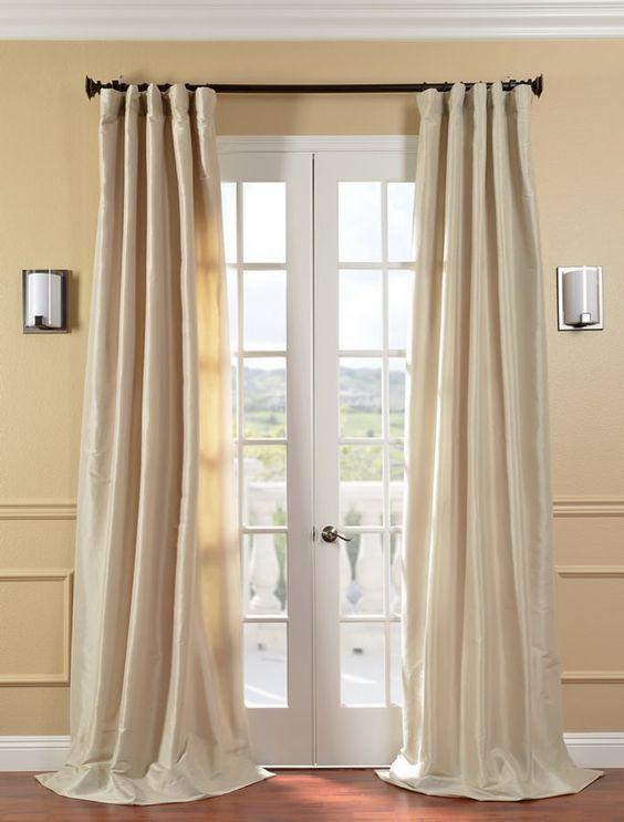 Antique Beige Faux Silk Taffeta Curtain - SKU: PTCH-JTSP130907 at ...