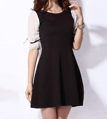 Half Sleeve Mid Waist Collar Dress