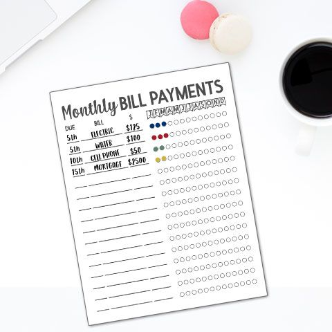 Free Monthly Bill Tracker Log Template Printable Bill Tracker Printable Bill Tracker Bullet Journal Print