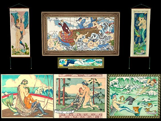 """whattheskell: """"Felix D'Eon paintings for the GOS theme! (Surely I'm not the only one who could use more gay mermen pictures in my game.) Also featuring paintings from TSM & letthemplaysims! """""""