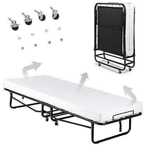Selva Twin Size Rollaway Folding Metal Bed Frame W Mattress Memory