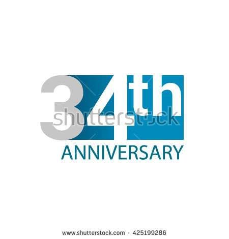 Template Logo 34th anniversary. Blue colored. - stock vector