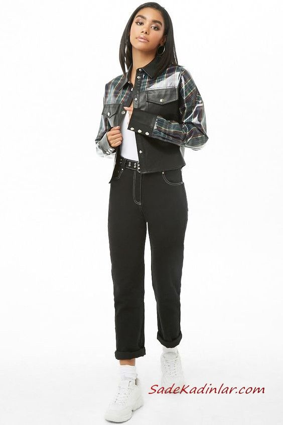 Bayan Pantolon Ceket Kombinleri Siyah Kot Pantolon Beyaz Bluz Siyah Ekose Desenli Deri Ceket Beyaz Spor Ayakkabi Siyah Ekose Siyah Kot Deri Ceket