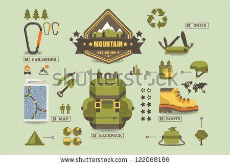 hiking equipment info graphics,mountain icons, by filip robert ...