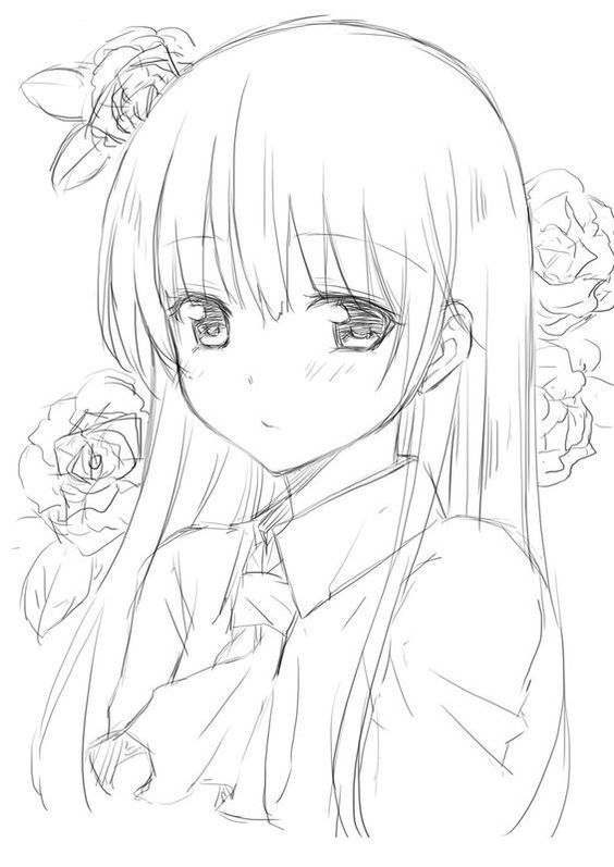 Картинки для срисовки карандашом лёгкие и красивые аниме