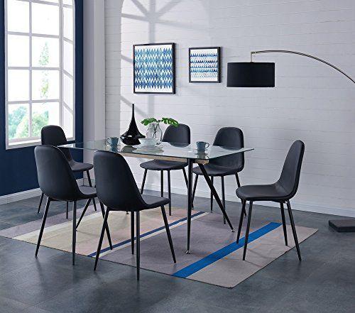 Esszimmerstuhl im 4er-Set Grau 86 x 46cm en.casa Esstisch in Holz-Optik Hairpin Leg
